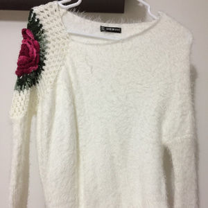 White Fuzzy Floral Sweater